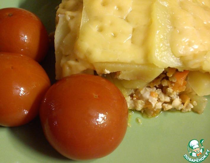 Рецепт: Картофель с фаршем в духовке