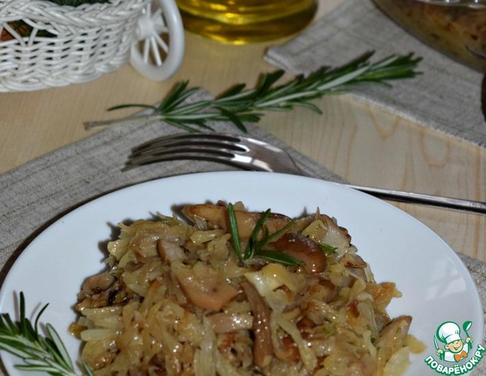 Рецепт: Запеченная капуста с грибами