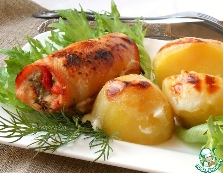 Рецепт: Куриные рулетики с фетой и перцем