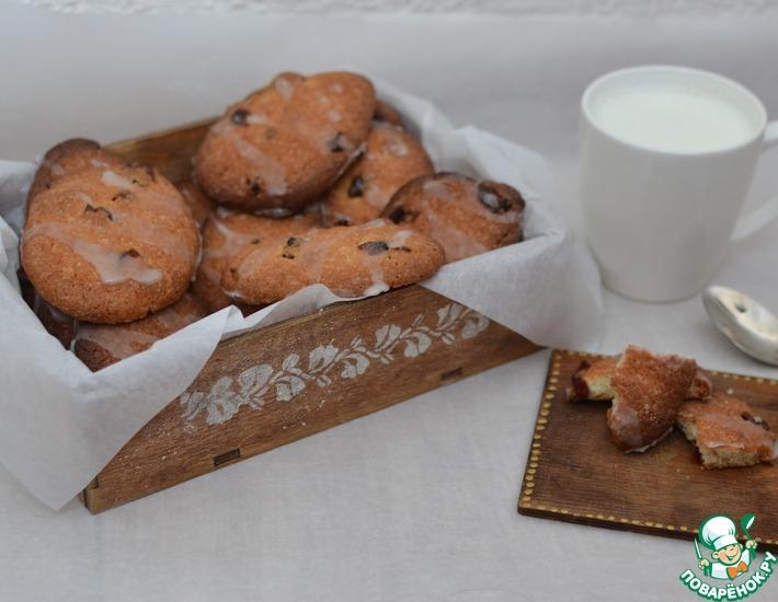 Рецепт: Печенье с сушеной клюквой и глазурью