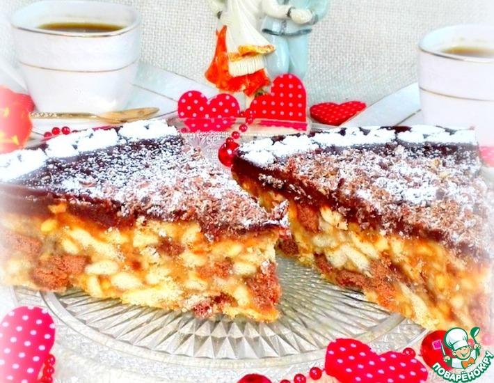 Рецепт: Шоколадно-ореховый торт из печенья