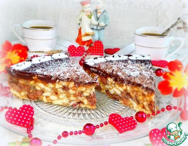 Шоколадно-ореховый торт из печенья