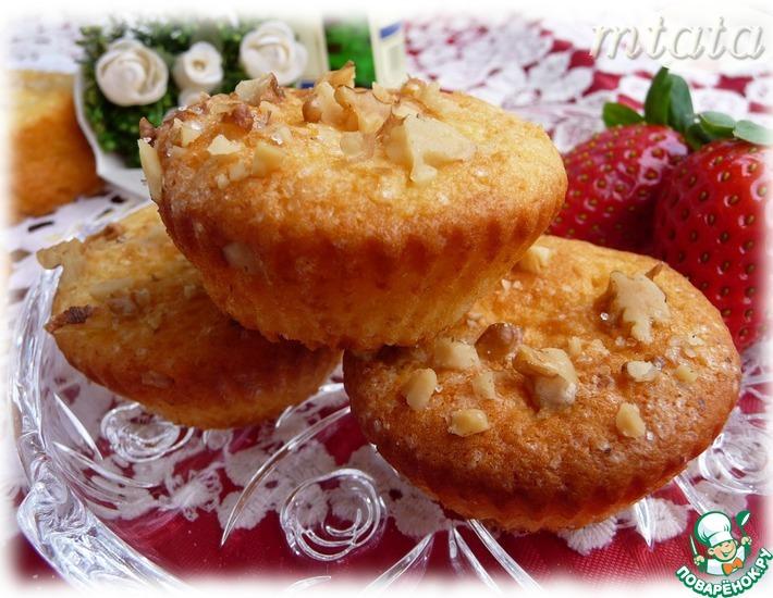 Рецепт: Творожные кексы с ореховой корочкой