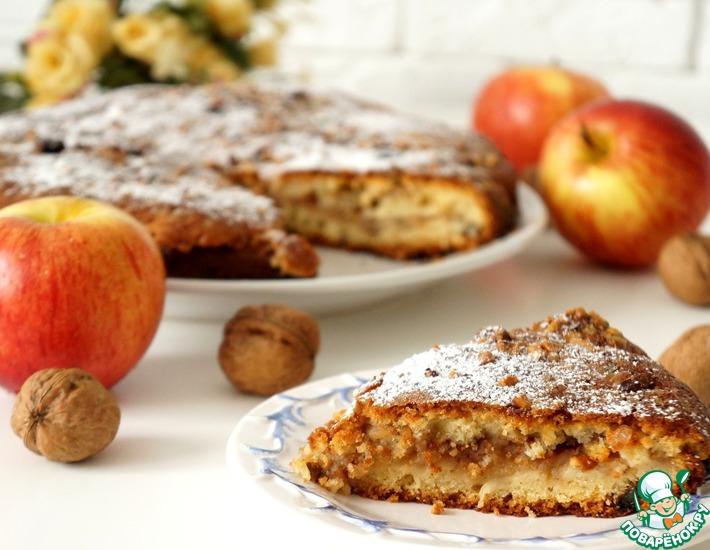 Рецепт: Яблочно-ореховый пирог с сахарной крошкой