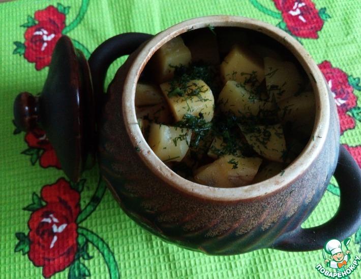 Рецепт: Бараньи ребрышки с картофелем в горшочках
