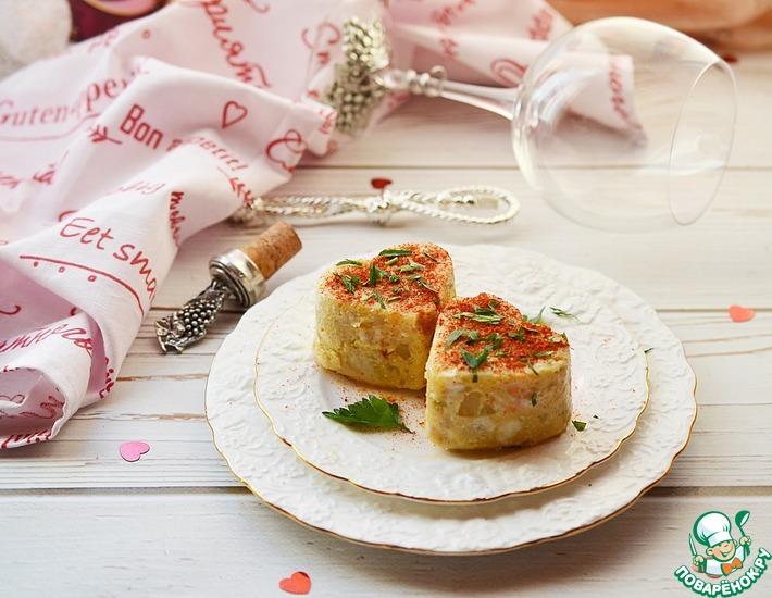 Рецепт: Порционный омлет с картофелем и рыбой