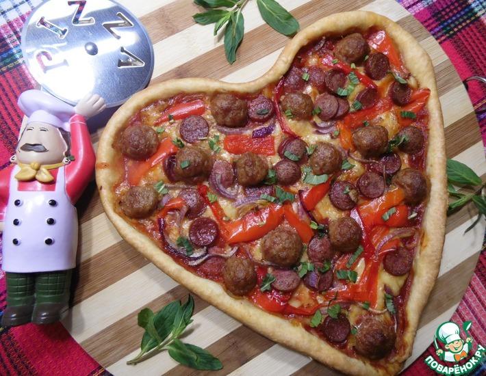 Рецепт: Пицца с фрикадельками и маринованным перцем