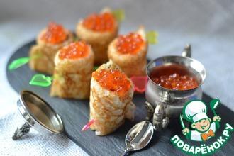 Рецепт: Дрожжевые блины с лососем