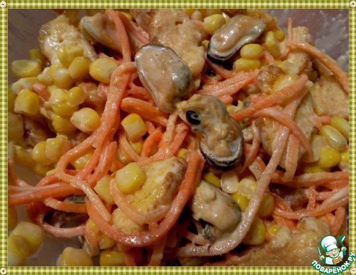 Рецепт: Салат с мидиями Оп-ля!