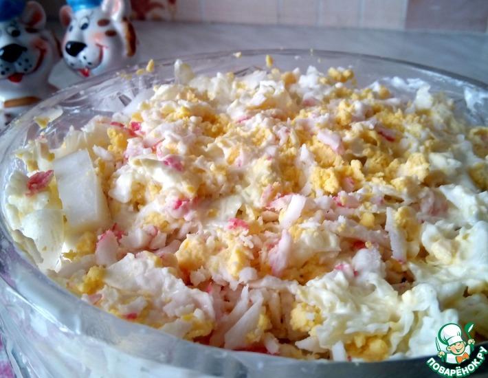 Рецепт: Слоеный салат с морской капустой