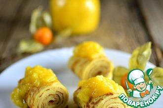 Рецепт: Кукурузные блинчики с манговым соусом