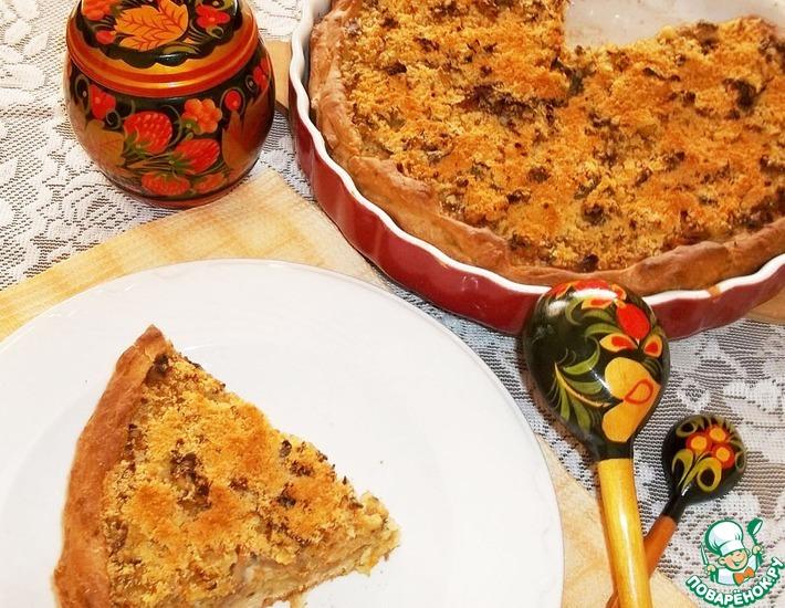 Рецепт: Открытый пирог с грибами и овощами