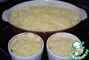 Then remove the form from the oven, sprinkle with grated cheese. (you can use any cheese that melts well) to Increase the oven temperature to 200* and bake another 5-7 minutes, until the cheese is melted and slightly browned.