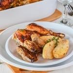 Курица, запеченная с картофелем и грибами