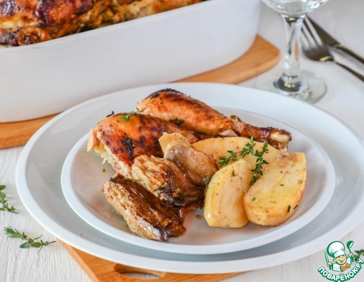 Рецепт: Курица, запеченная с картофелем и грибами