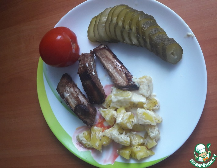Рецепт: Картофель с чесноком в микроволновке