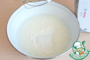Add milk (1 Cup), melted butter (30 g), add 4 tablespoons of vegetable oil, add flour (90g).