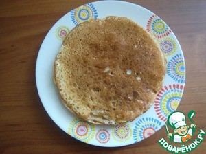 Of this amount, turned out the test 6 PCs of pancakes, D-24 cm Poured the batter on the ladle 1.