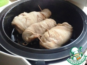 """Choose mode """"steaming"""" for chicken. Cook until the end of the regime."""