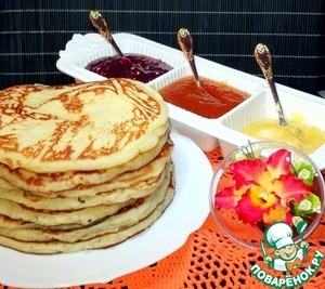 Received 8 plump pancakes.  Served them with jam and honey.
