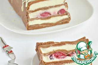 Рецепт: Шоколадный блинный торт Вишневый переполох