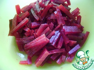 Beets cut into strips.