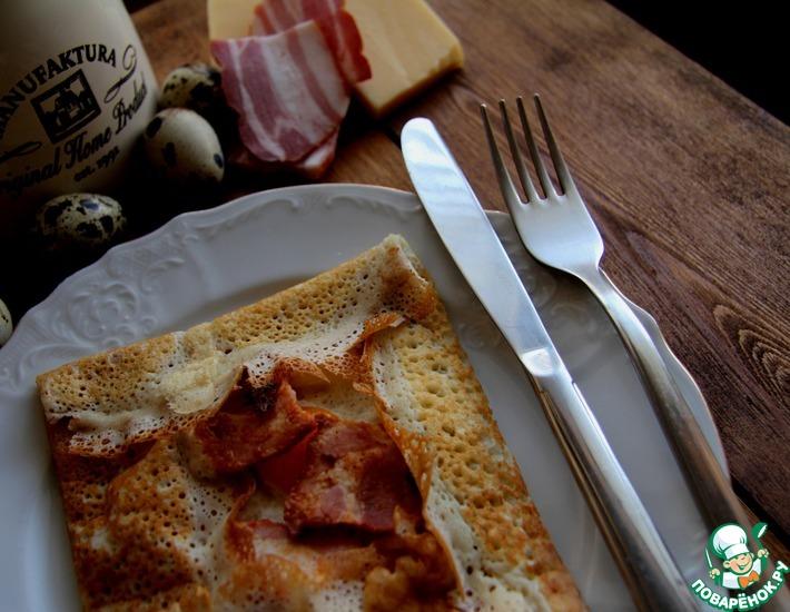 Рецепт: Блинные галеты с ветчиной и яйцами