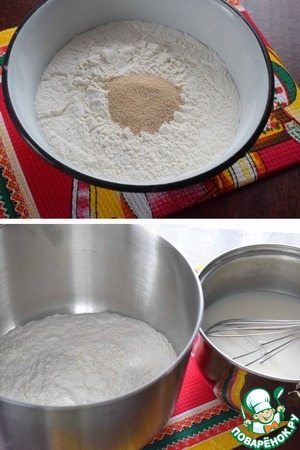Sift the flour, add the yeast and stir.