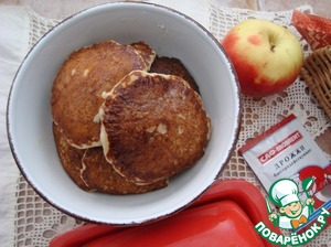 Get 10 pieces of pancakes from this amount of dough. Removing from the pan, grease each muffin has butter. Served with condensed milk.