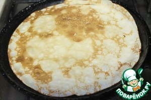Bake the pancakes in a hot pan on both sides.