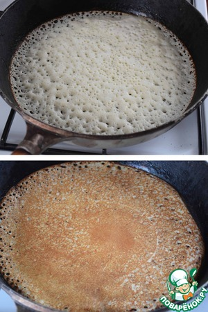 Recruited ladle the batter and arrange on the pan. Bake pancakes with two sides until tender.