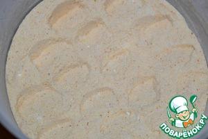 Sifted flour mixed with semolina, salt, baking powder, turmeric and lemon zest.