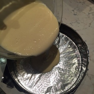 Preheat the oven at 165°, and while it warmed up greased form (diameter 26 cm) with butter and pour in it the dough. Bake cake 40 minutes!