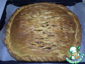 Bake pie for 30-35 minutes at 180 degrees. Hot cake cover with wet cotton cloth for 1 minute! Then remove the cloth.