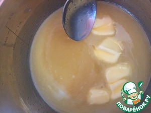 "Put on fire and when the mixture becomes warm add the butter ""Michelle"". Stirring all the time cook until thick."