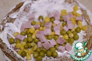 Выкладываем смесь горошка, кукурузы и ветчины на половину блина