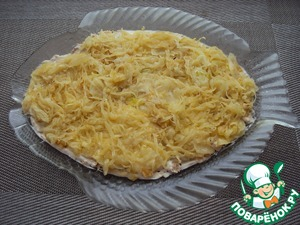 The second layer put the fried onions.