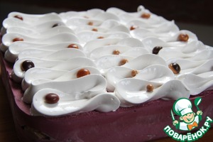 Spread prepared meringue in a pastry bag and decorate according to your taste.  All! Mousse cake is ready!