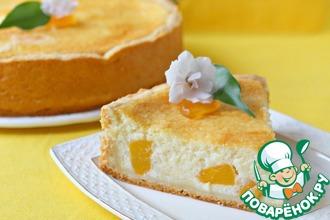 Рецепт: Нежнейший творожный пирог с персиками Светланка