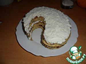 Grease the pancakes alternating creams.