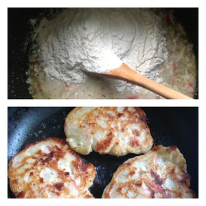 Pour the flour and knead the dough.  Leave in a warm place for 30 minutes.  Fry pancakes with two sides with the lid closed, a sufficient amount of vegetable oil.