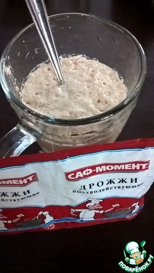 Mix the milk, water and sugar  Add the yeast SAF-moment  Leave to swell for 10-15 minutes