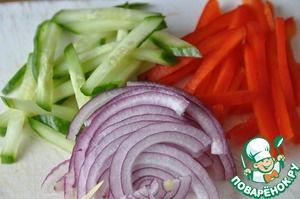 Vegetables wash, peel. Cut the cucumber and bell red pepper in thin strips and the red onion into thin half-rings.