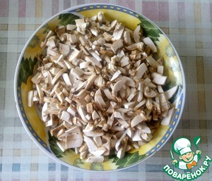 Mushrooms are also smaller. Better stir with the potatoes and give a flavor.