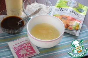 Soak gelatine in cold boiled water and leave to swell (about half an hour).