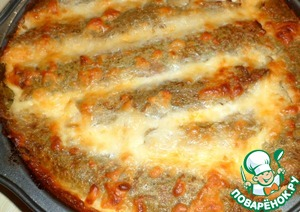10 minutes before baking, sprinkle with grated cheese. To give to brown.