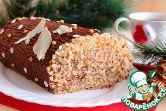 Рецепт: Бисквитный рулет с шоколадным кремом Полено