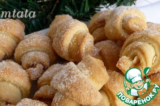 Рецепт: Сахарно-ореховые мини-рогалики