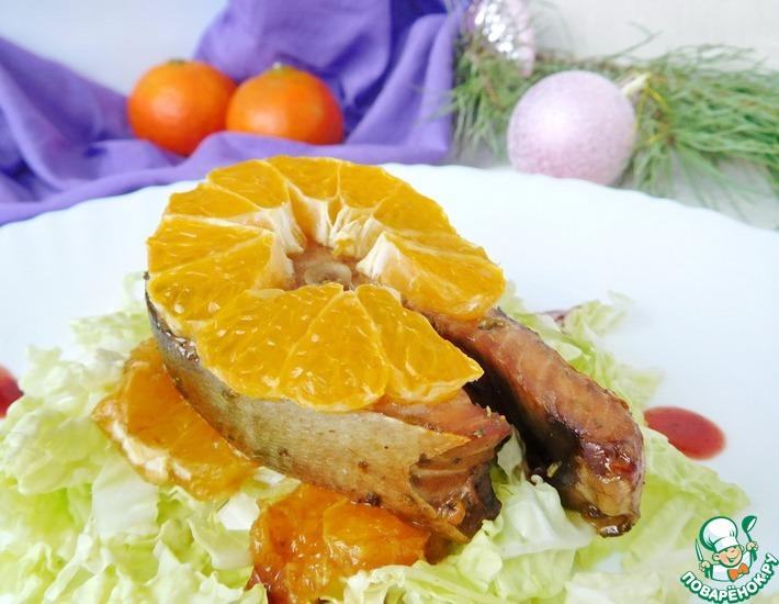 Рецепт: Лосось, запеченный с мандаринами