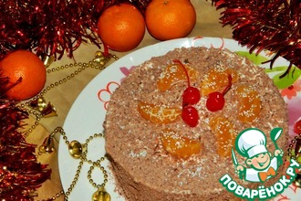 Рецепт: Мандариновый торт с печеньем Савоярди